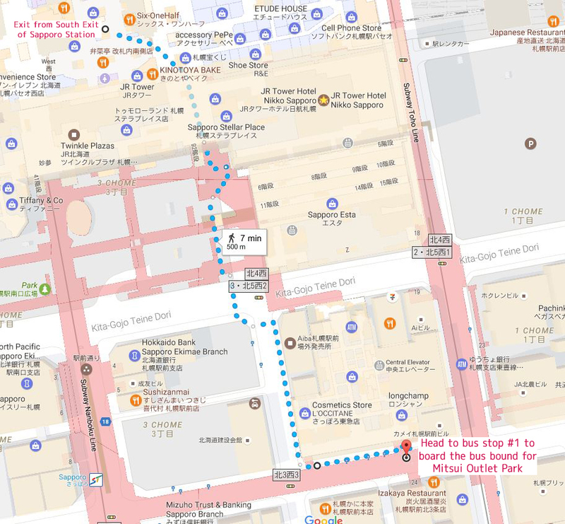Direction from Sapporo JR station getting to Mitsui Outlet Park bus stop