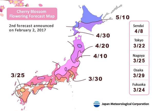 Cherry Blossom Flowering Forecast Map 2017