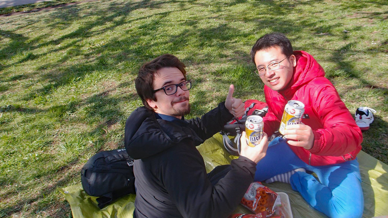 Beer time with friends during hanami.