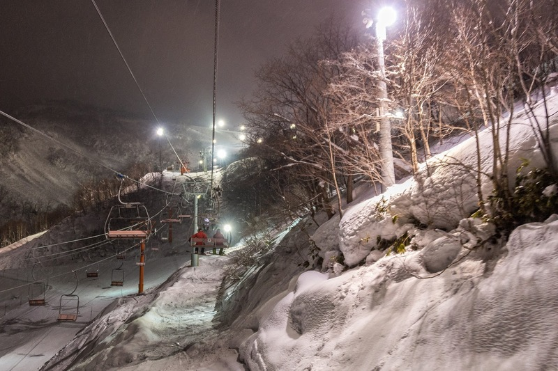 Night skiing in Niseko.