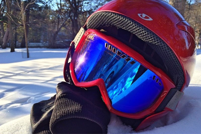 Goggles and helmet are essential items for skiing.