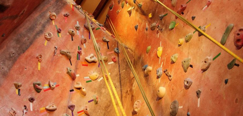 Niseko Adventure Center indoor climbing wall.