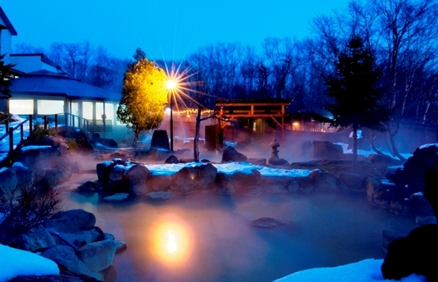 Outdoor onsen of Niseko Grand Hotel