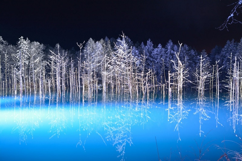 Blue Pond light up in winter.